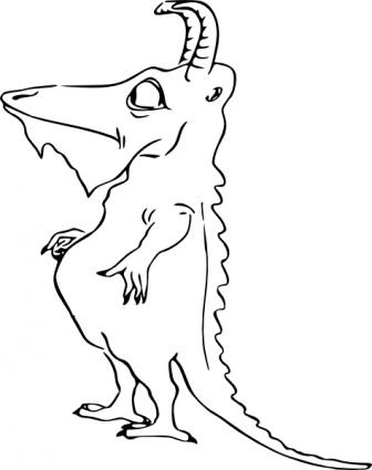 336x425 Dragon Outline Standing Monster Horns Scary Alligator Crock