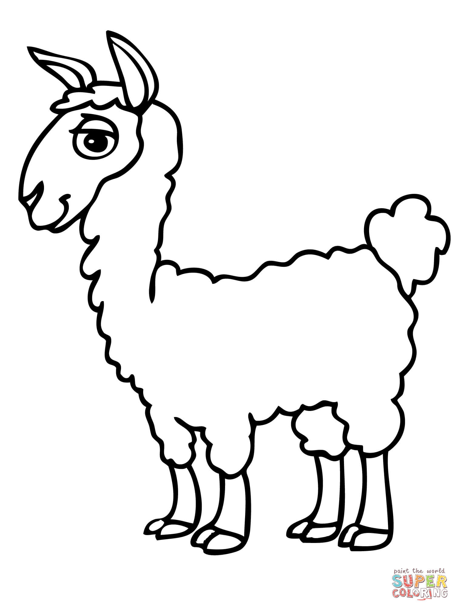 1500x2000 Cute Alpaca Coloring Page Free Printable Pages Lama