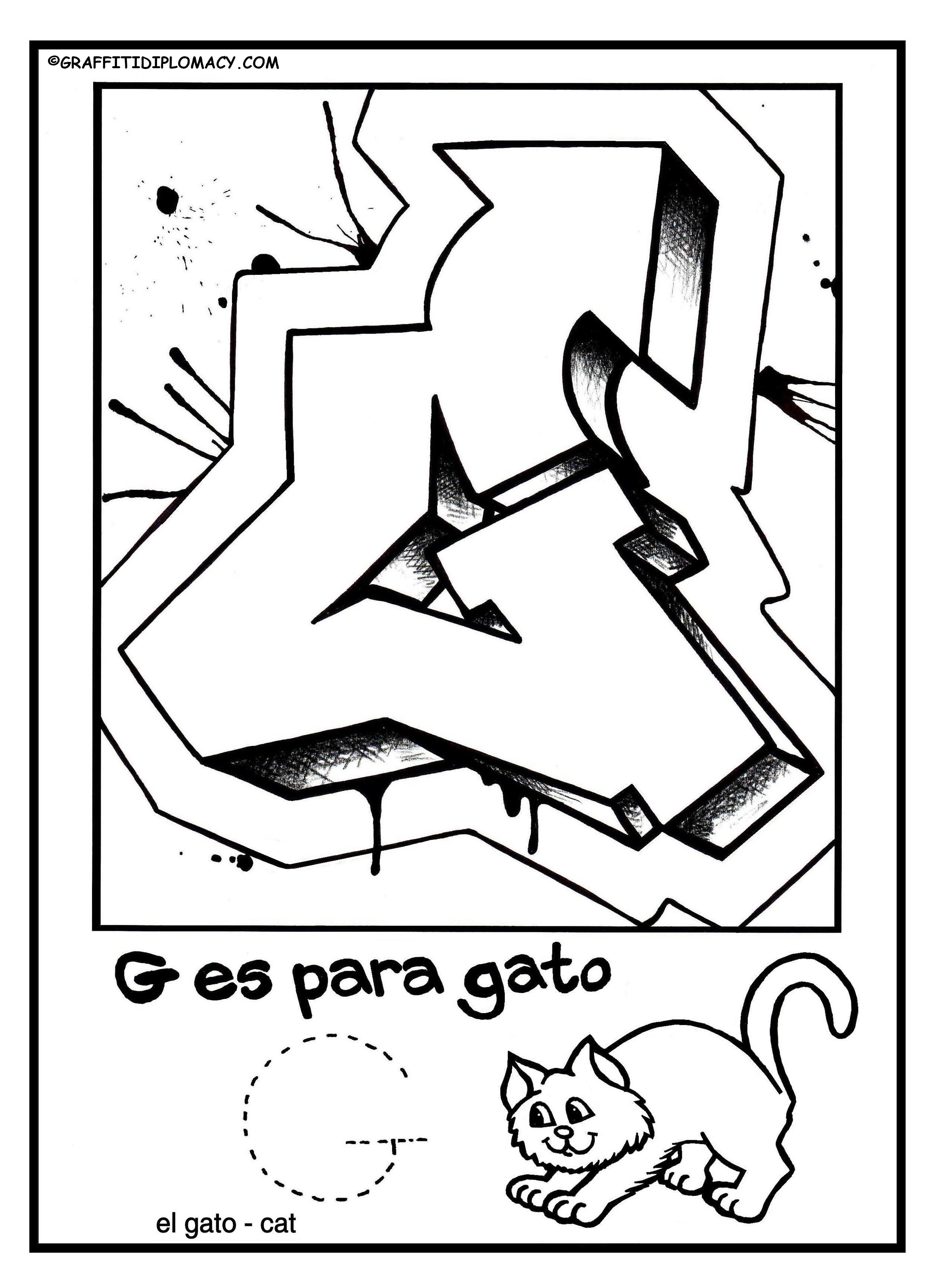 2348x3248 Fun To Color Graffiti Letters To Help Kids Learn The Spanish