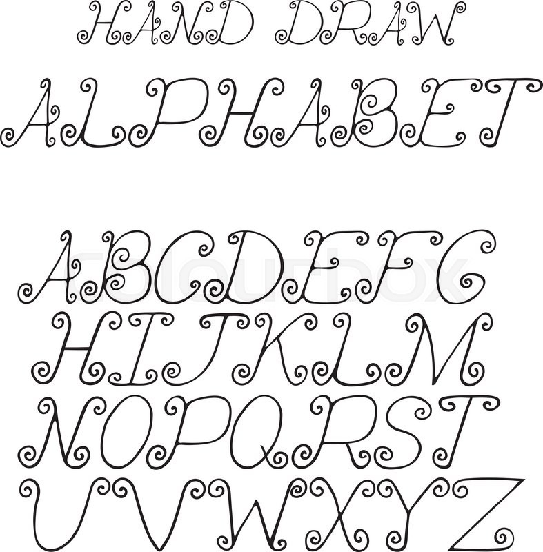 787x800 Hand Draw Alphabet Letters With Curls Under The Classical Bias,