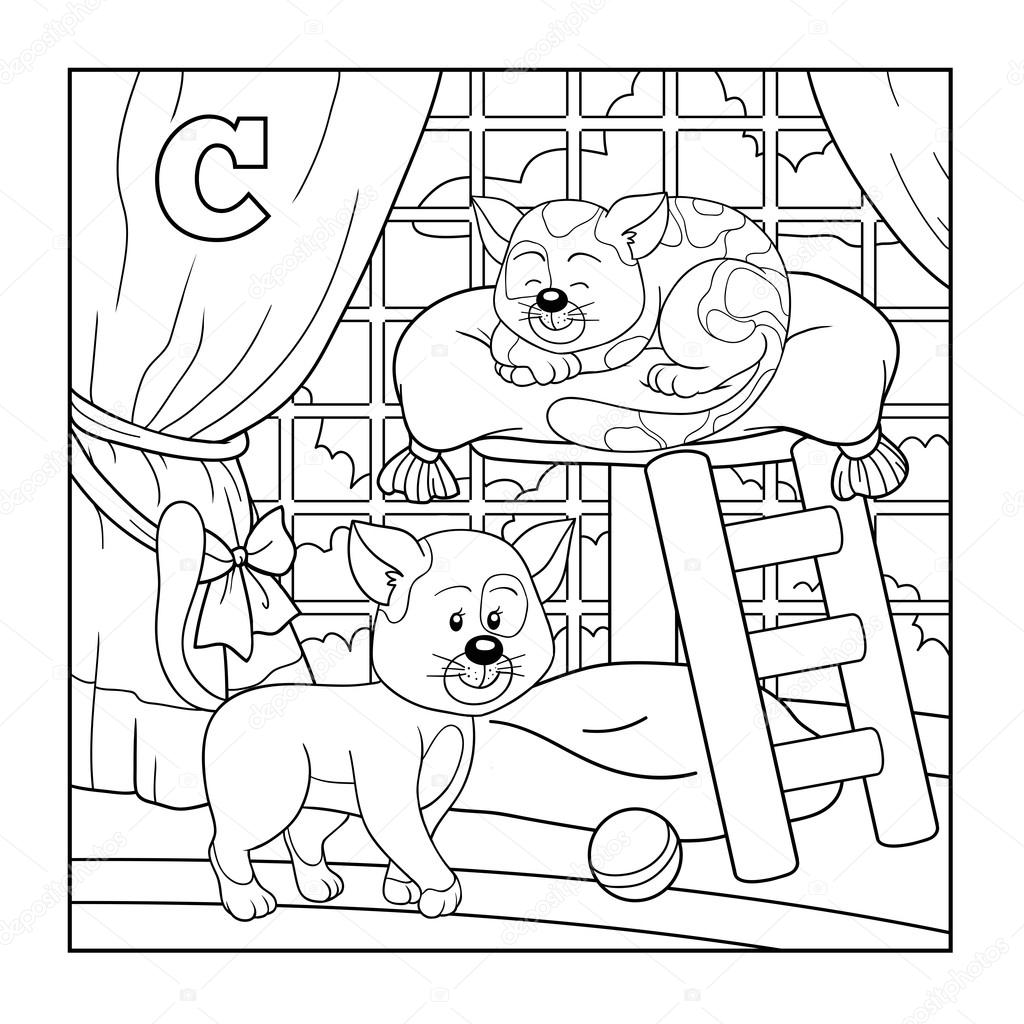 1024x1024 Coloring Book (Cat), Colorless Alphabet For Children Letter C