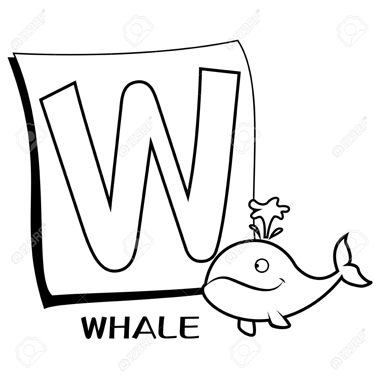 1300x1300 Coloring Alphabet For Kids, W With Whale Royalty Free Cliparts