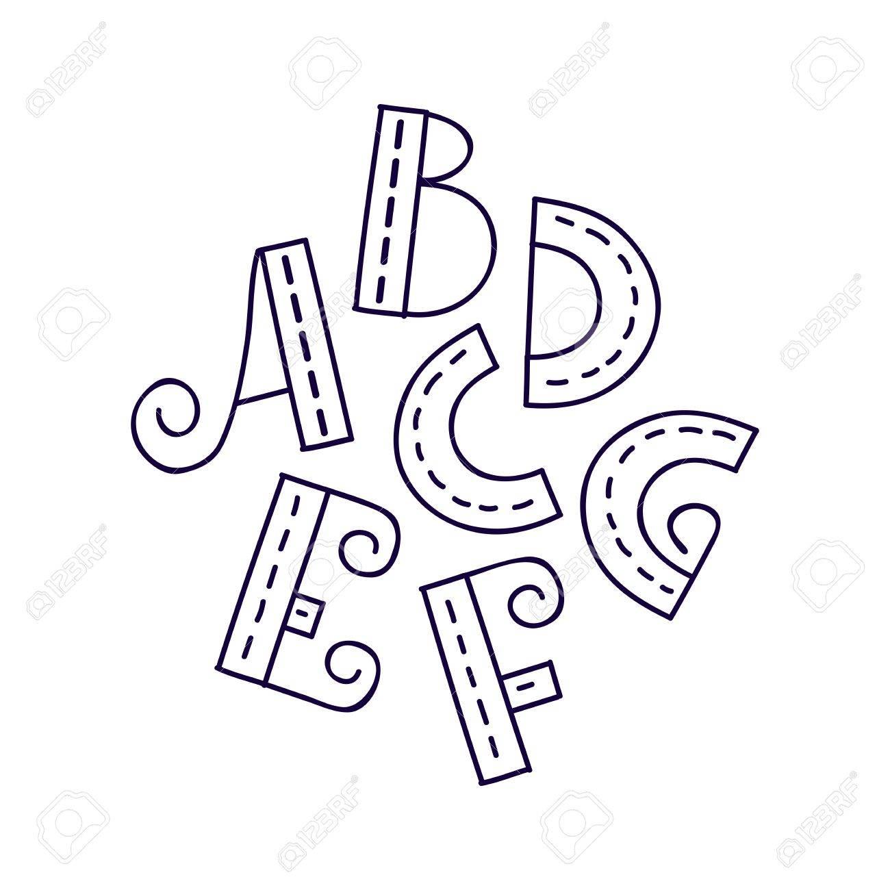 1300x1300 Hand Drawn Vector A B C D E F G Letters, Doodle Alphabet, Eps
