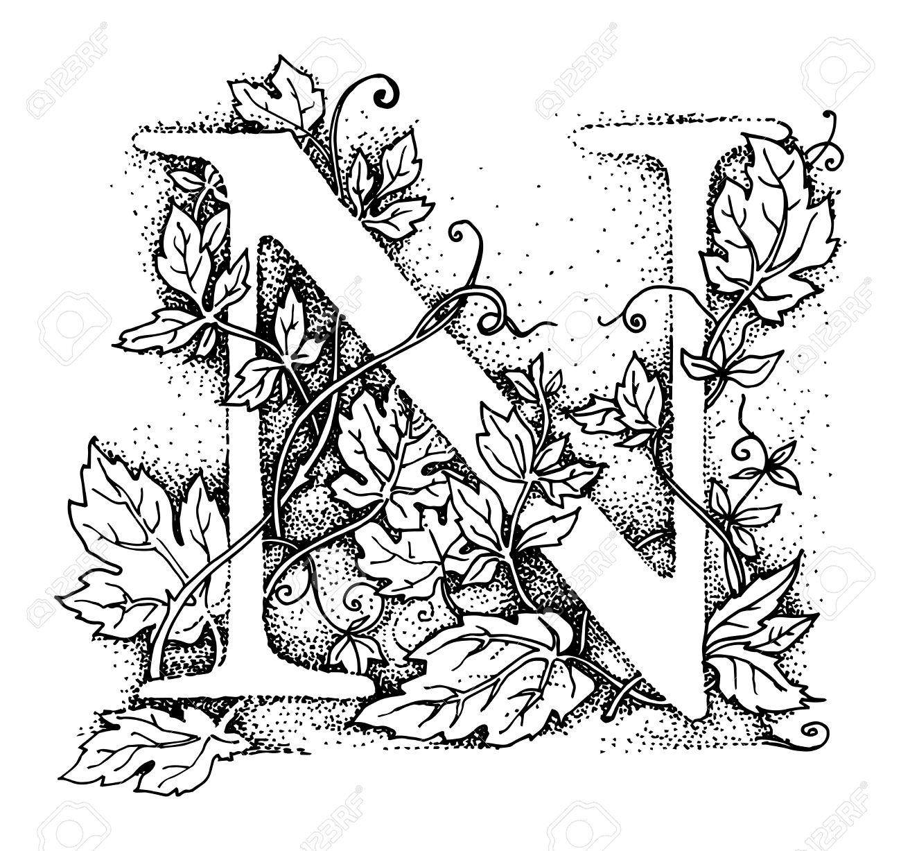 1300x1227 Letter N Alphabet Symbol, Hand Draw Illustration Royalty Free