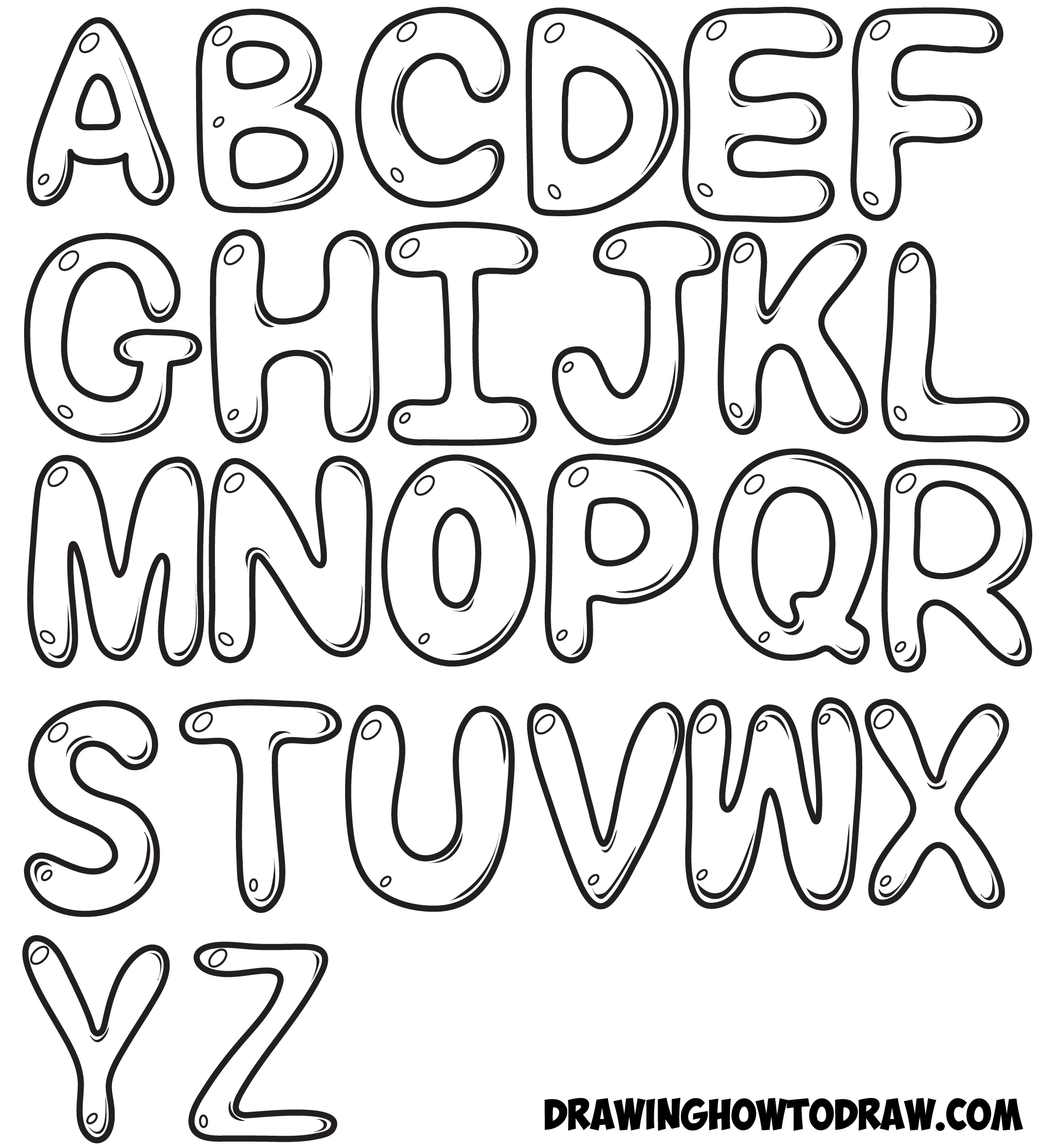 2134x2336 Big Alphabet Bubble Writing How To Draw Bubble Letters In Easy