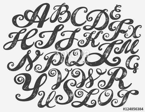 500x386 Calligraphy Alphabet Typeset Lettering. Hand Drawn Alphabet