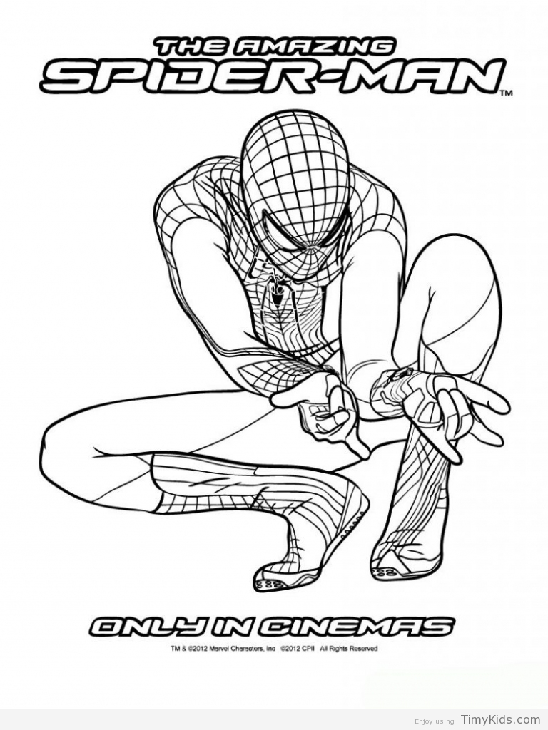 768x1024 The Amazing Spider Man 2 Coloring Pages TimyKids