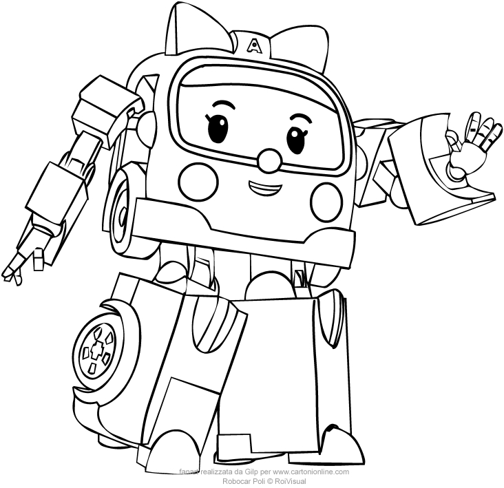732x709 Amber From Robocar Poli Coloring Pages