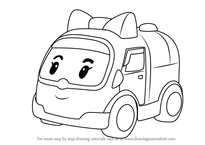 800x566 Learn How To Draw Amber Amubulance From Robocar Poli (Robocar Poli