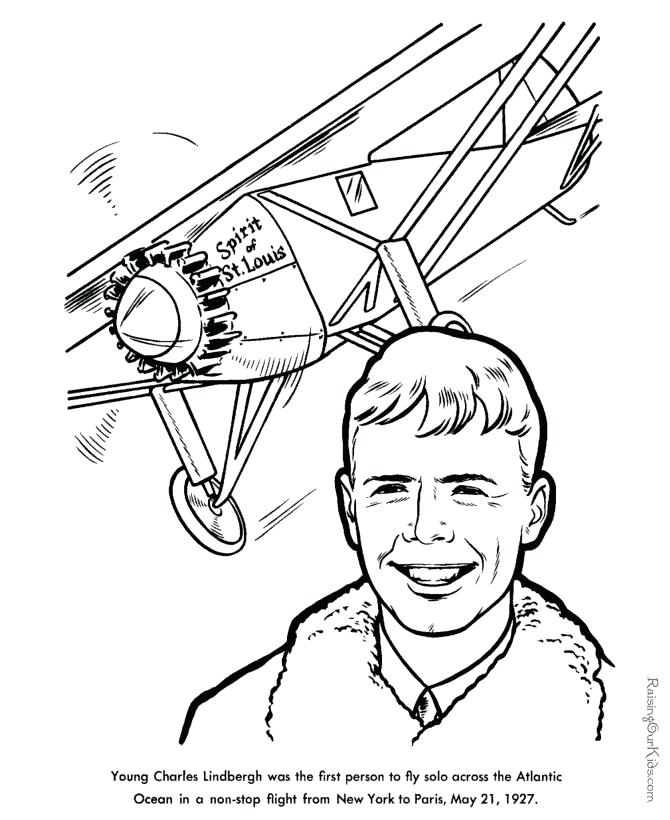 670x820 Amelia Earhart Coloring Pages Spirit Of St Airplane Coloring Page