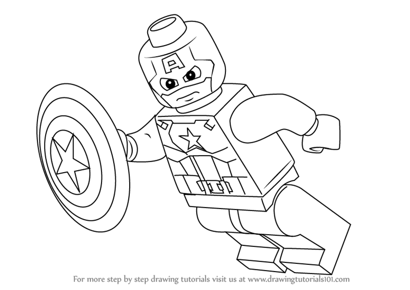 800x566 Learn How To Draw Lego Captain America (Lego) Step By Step