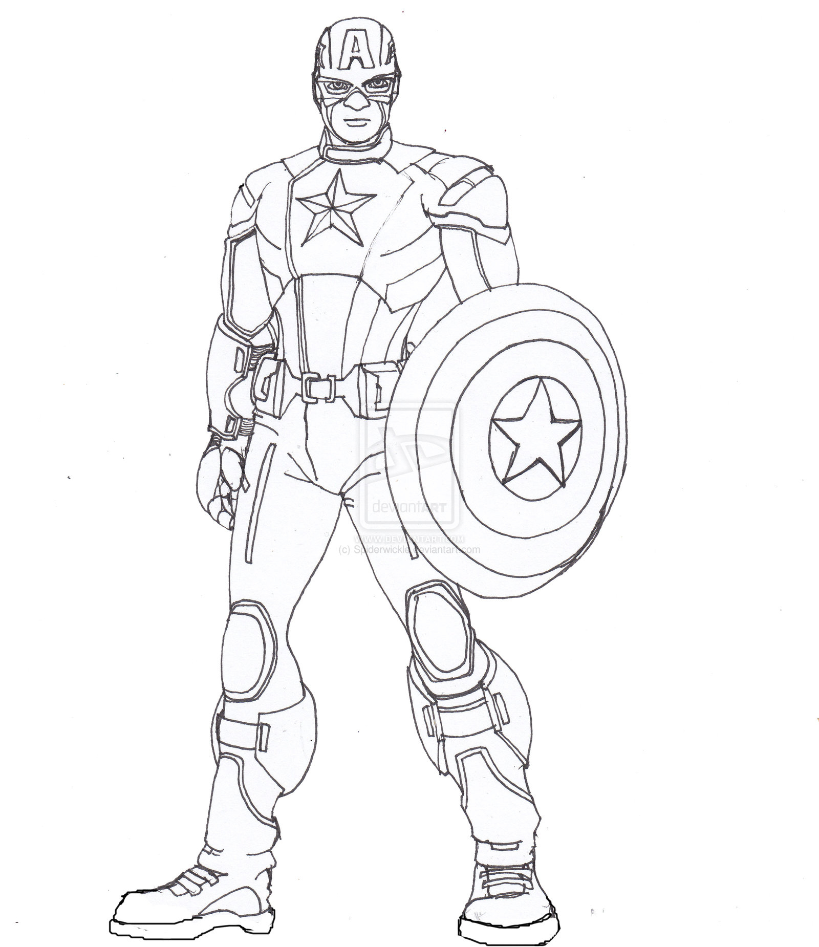 1600x1850 Captain America Drawings How To Draw Captain America Stepstep