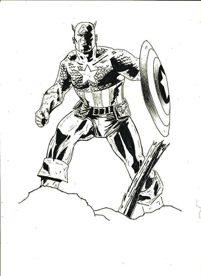 654x900 Captain America Ink Sketch Drawing By Laura Lewis