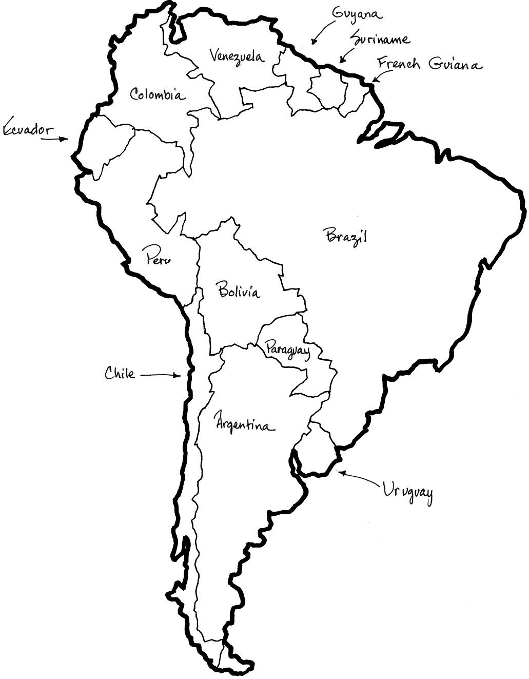 1031x1323 South America Coloring Map