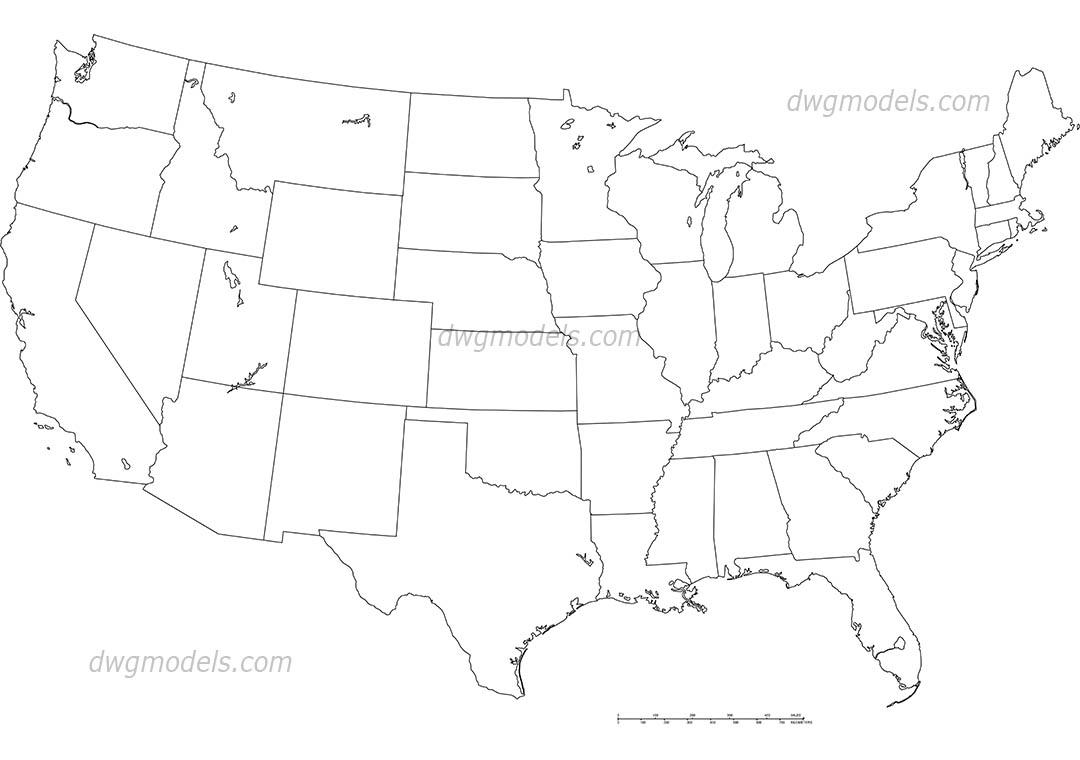 1080x760 America United States Map Dwg, Free Cad Blocks Download