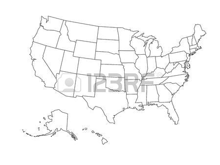 450x338 Blank Outline Map Of United States Of America. Simplified Vector