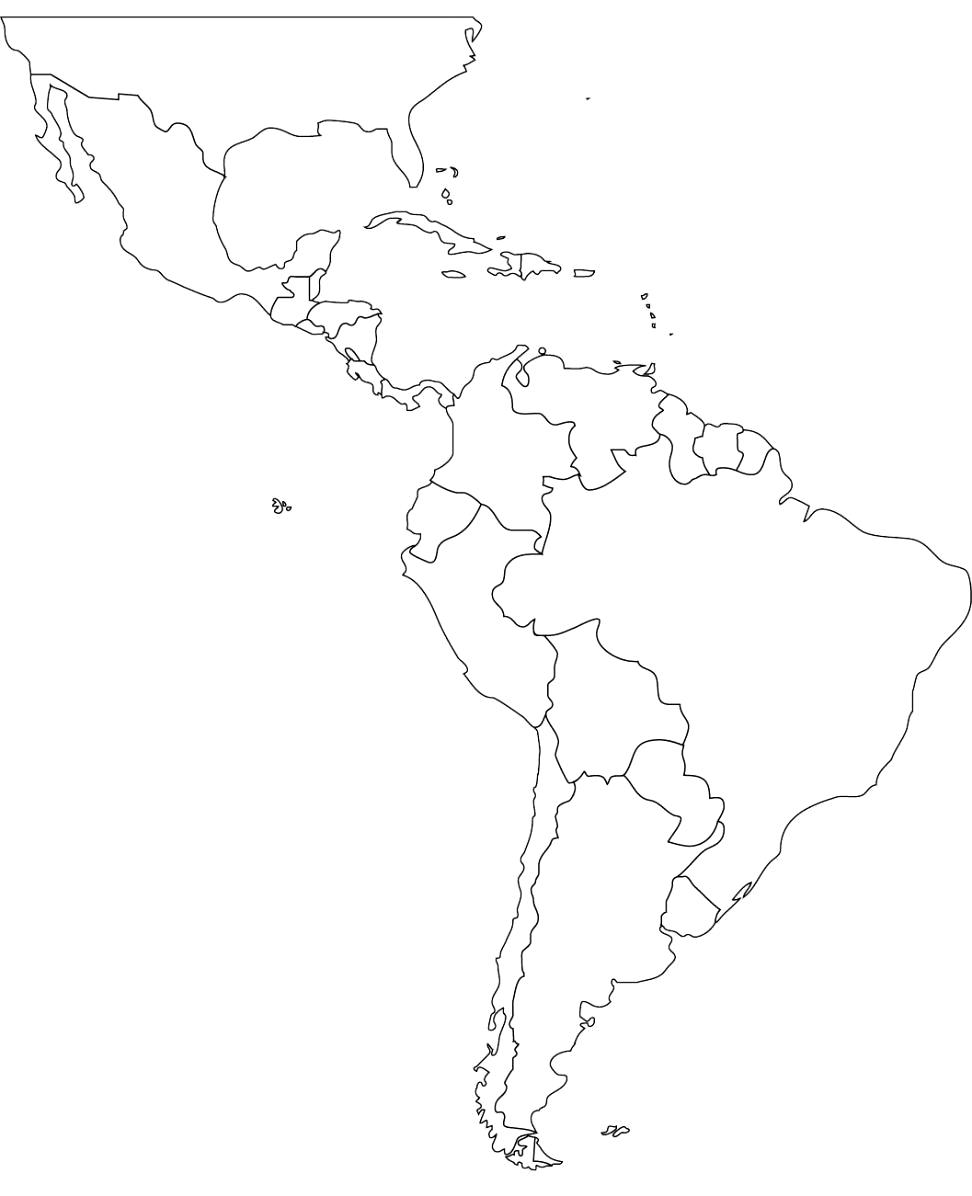 972x1196 Central America Outline Map Free