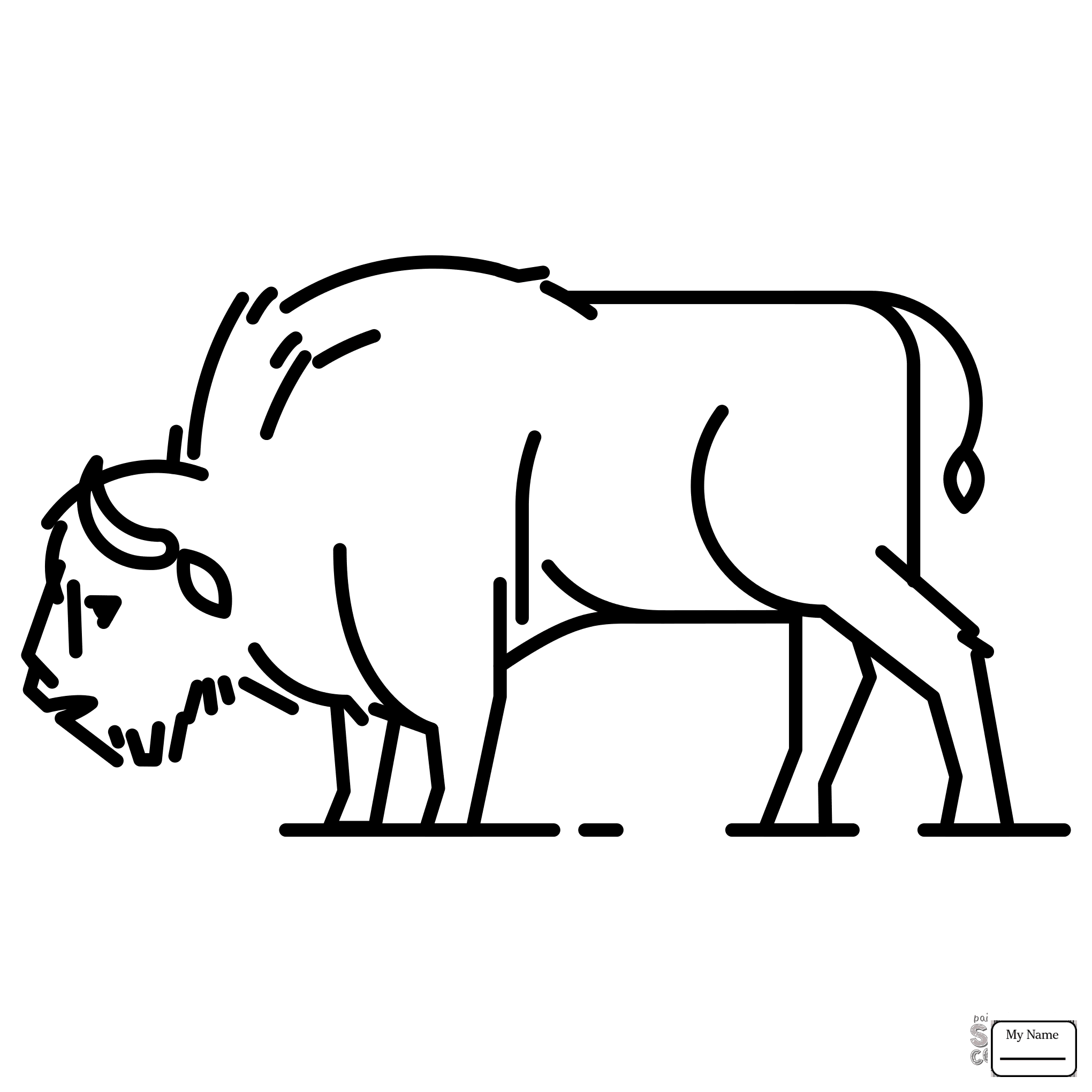 2040x2040 Coloring Pages For Kids Mammals American Bison With Calve