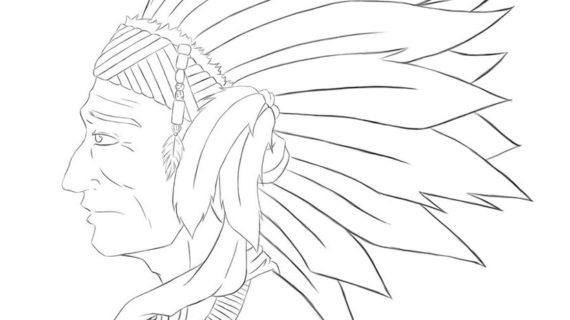 570x320 Native American Chief Drawing Native American Chief Sketch By