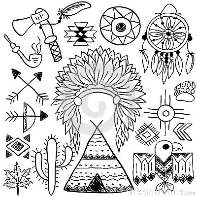 400x400 Native American Cherokee Headdress Linedrawing