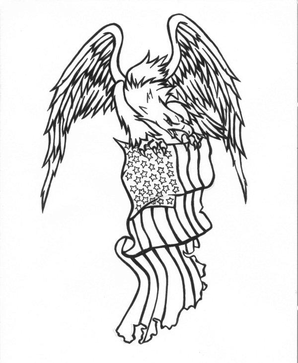 600x731 Black Outline Eagle With American Flag Tattoo Stencil By Karadarkthorn