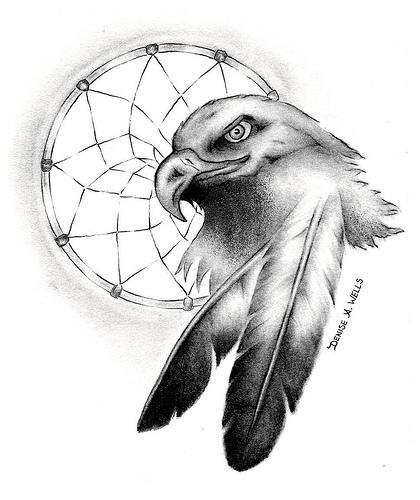 420x500 Native American Eagle Drawing