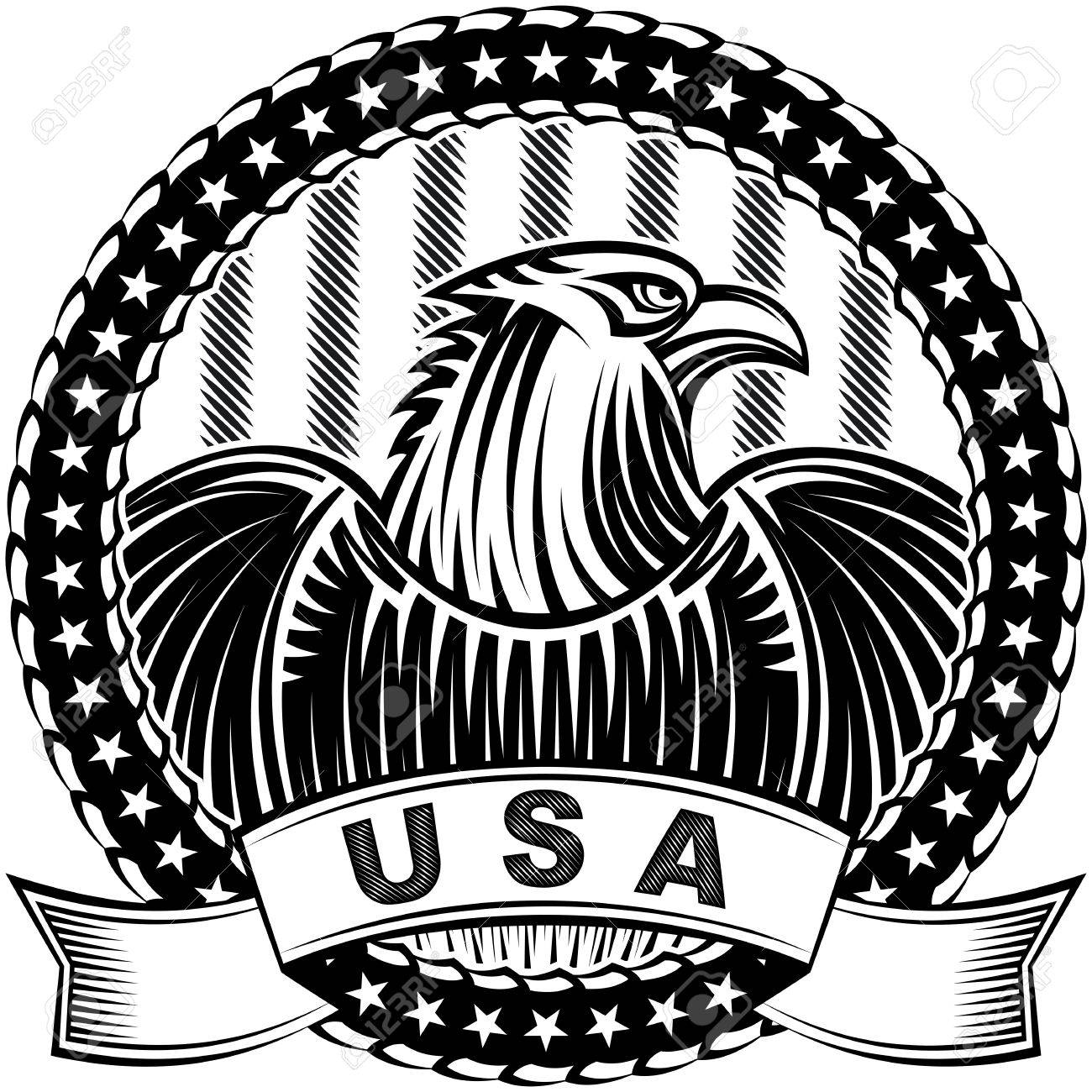 1300x1300 American Eagle With Stars And Stripes As A Symbol