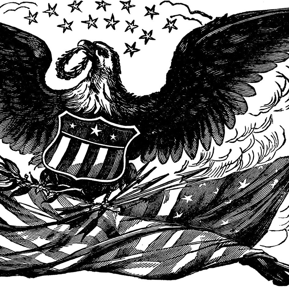 944x941 Vintage Bald Eagle With Flag Image!