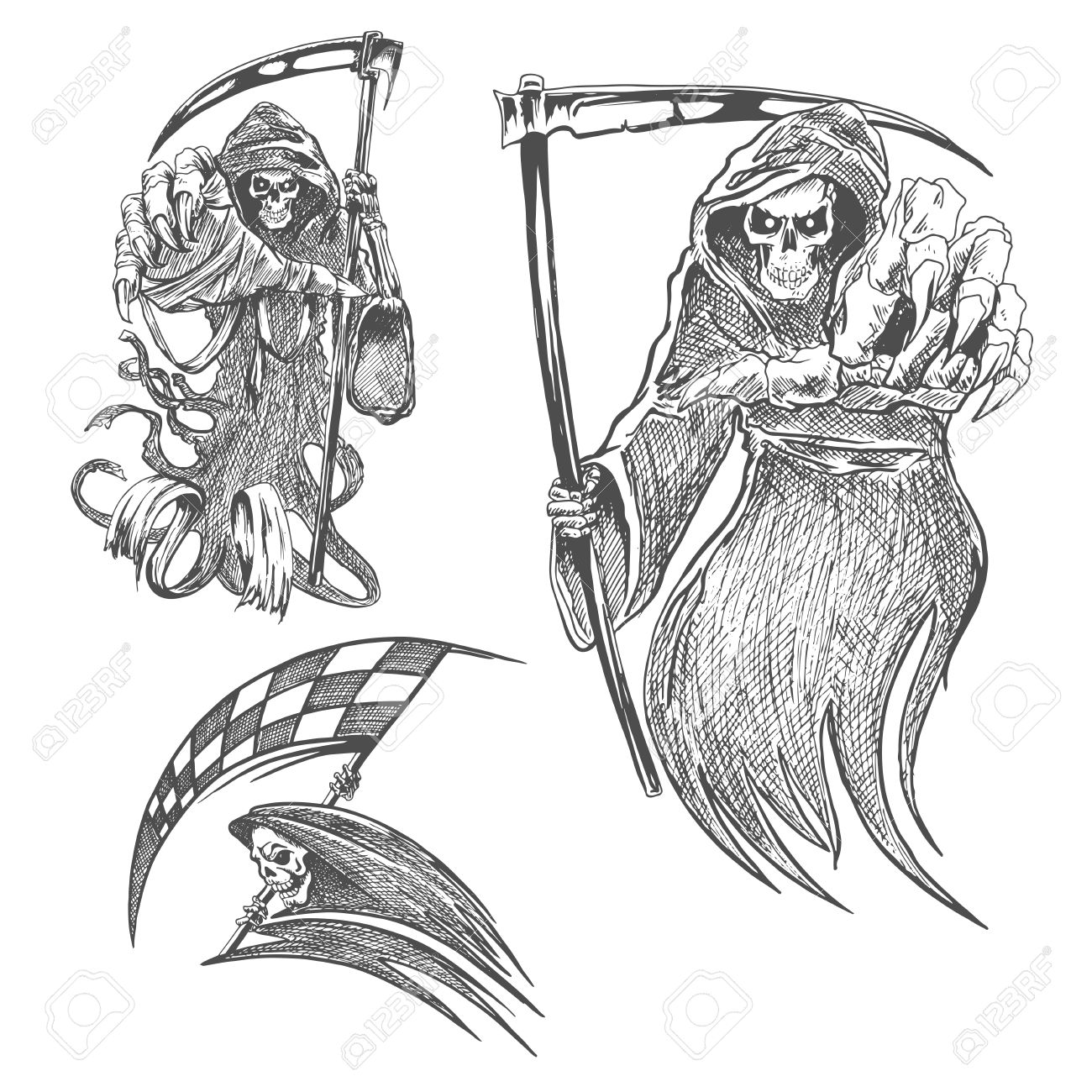 1300x1300 Death With Scythe Pencil Sketch. Halloween Vector Icon. Gothic