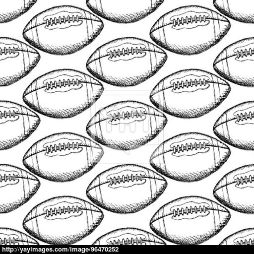 512x512 Sketch American Football Ball, Vector Seamless Pattern Vector