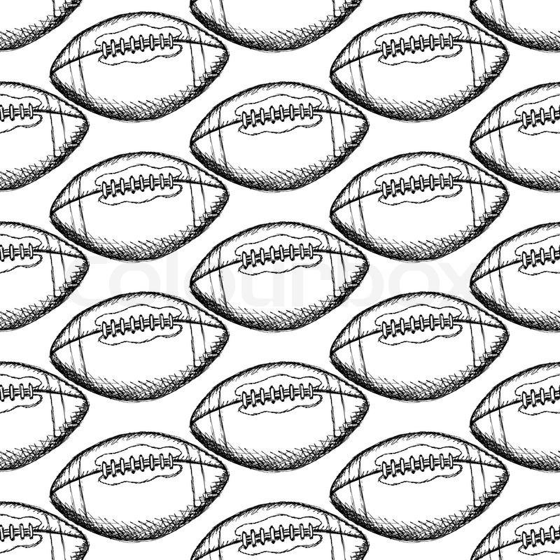 800x800 Sketch American Football Ball, Vector Vintage Seamless Pattern