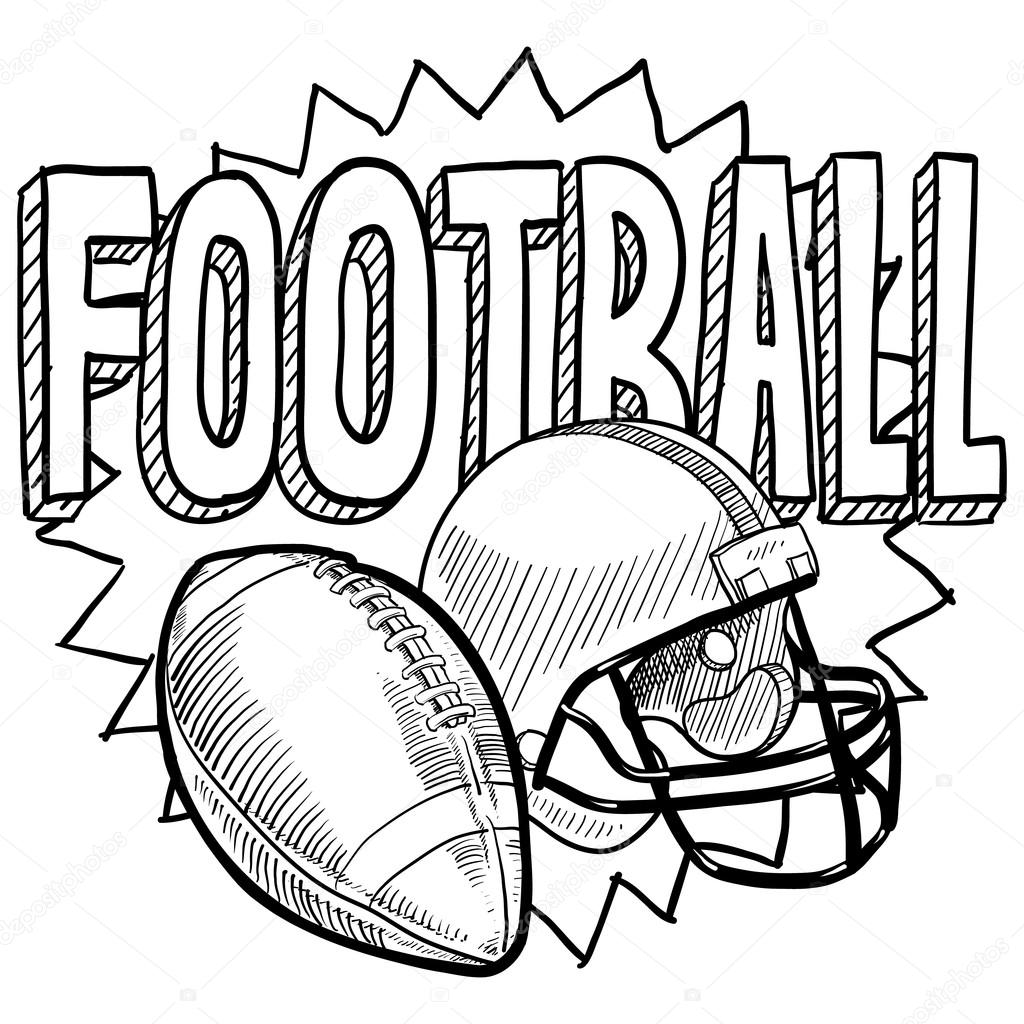 1024x1024 American Football Sketch Stock Vector Lhfgraphics