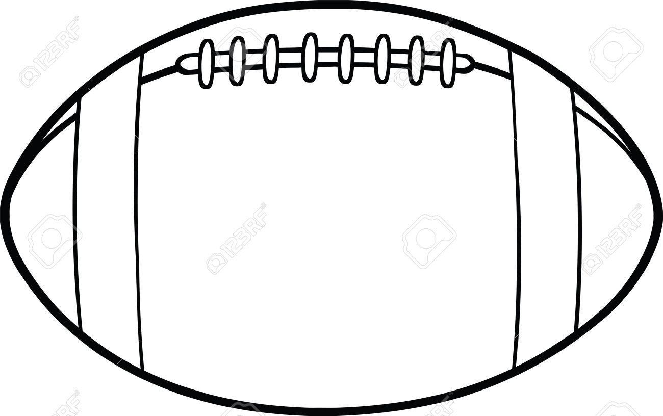 1300x816 Black And White American Football Ball Cartoon Illustration
