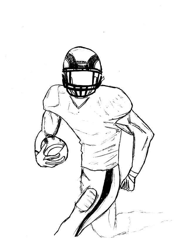 600x826 Drawing Of A Football Player Group