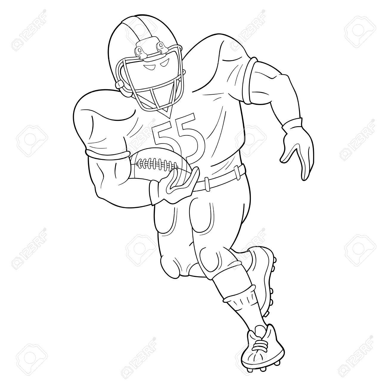 1299x1300 American Football Player With A Ball. Black And White Illustration