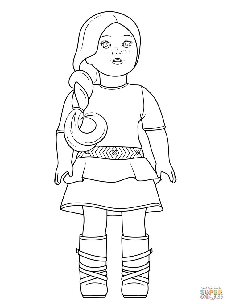 American Girl Doll Drawing At Getdrawingscom Free For Personal - Dolls-coloring-pages