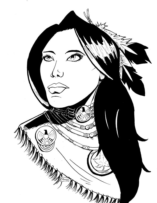 667x864 Native American Woman Inks By Shono