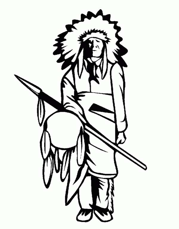 600x766 Native American Tribe Chief On Native American Day Coloring Page