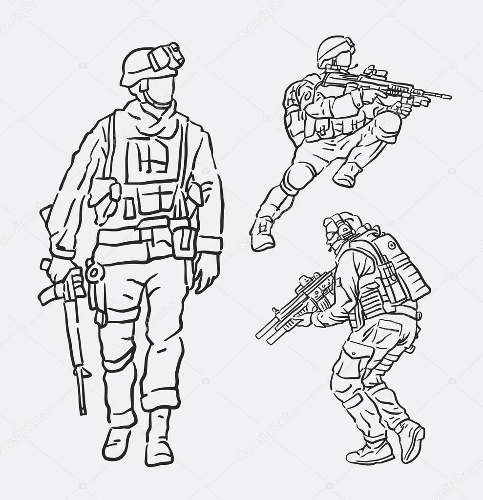 989x1024 Soldier Army Action Hand Drawing Stock Vector Cundrawan703