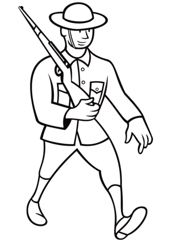 339x480 Ww1 British Soldier Marching With Rifle Coloring Page Free