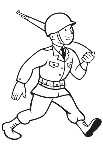 339x480 Ww2 American Soldier Marching With Rifle Coloring Page Free