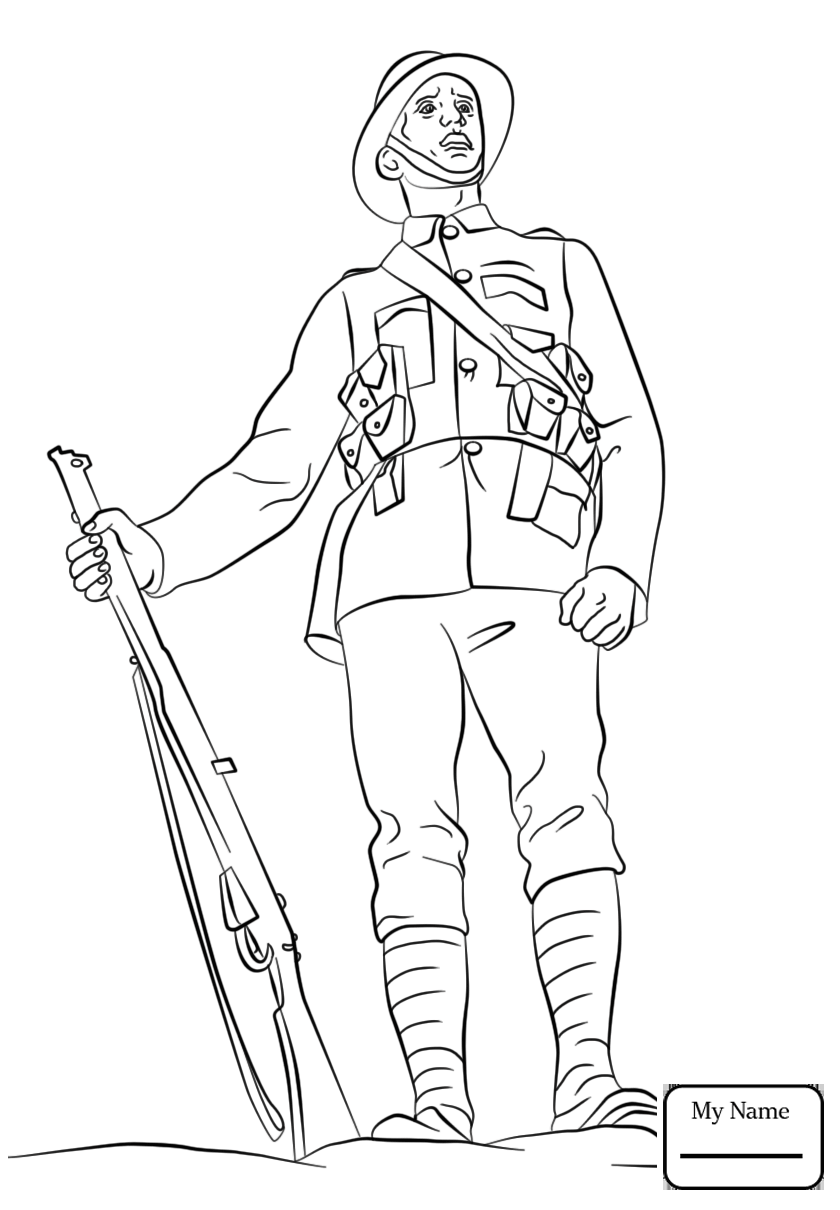 840x1210 Coloring Pages Military Ww2 American Soldier Marching With Rifle