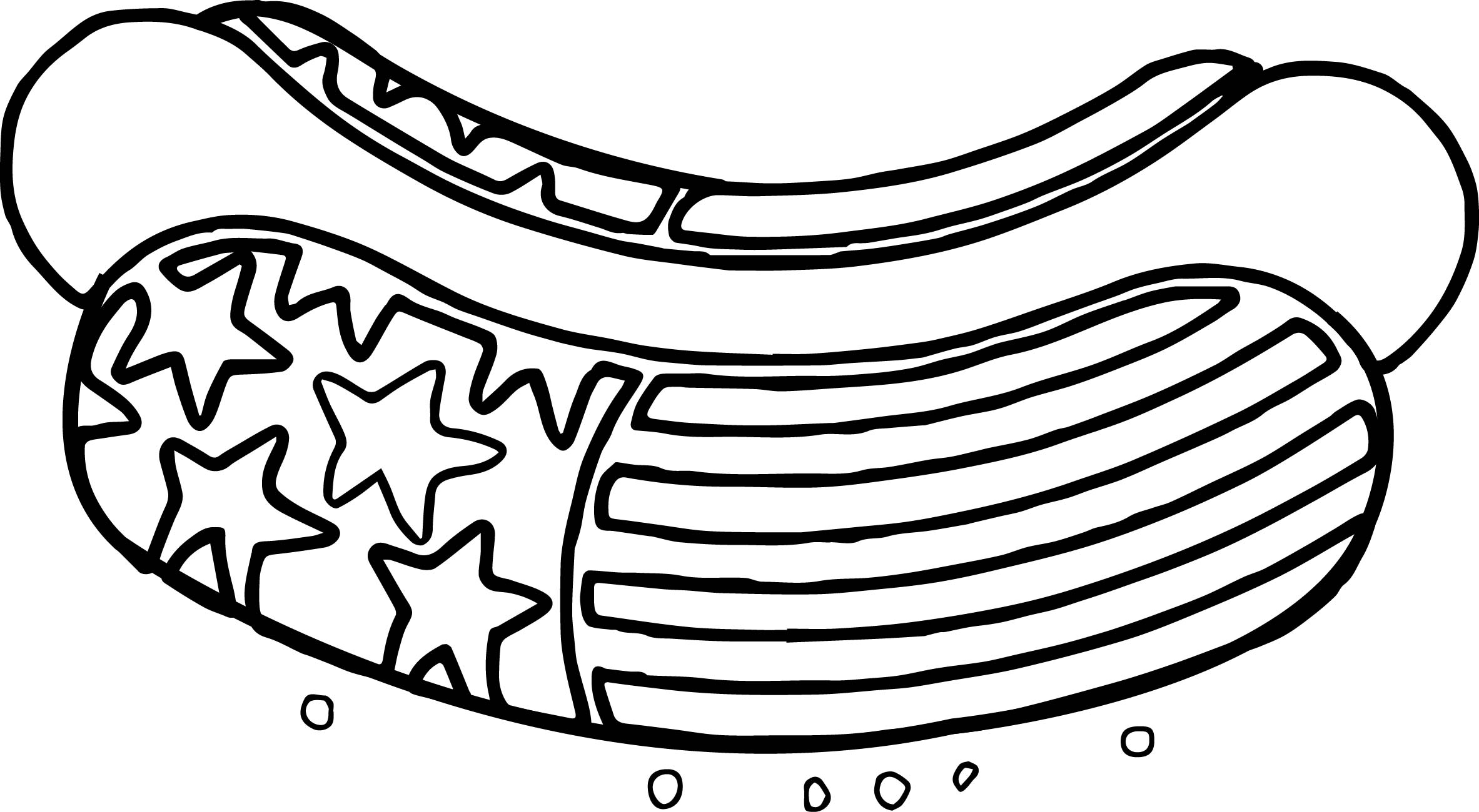 2365x1300 American Revolution Hot Dog American Flag Deco Coloring Page