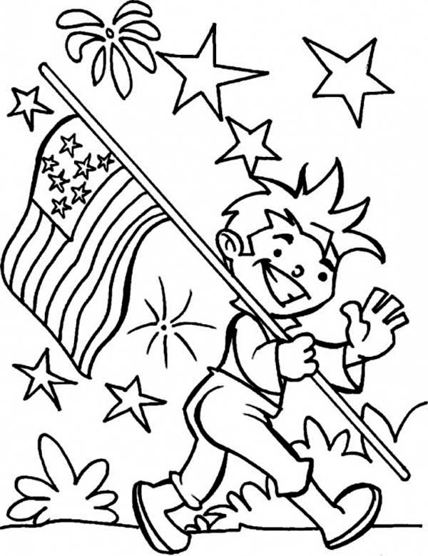 600x779 Carrying American Flag On Independence Day Coloring Page