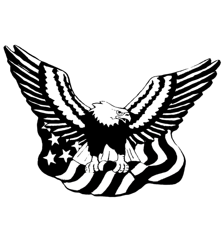 1375x1500 Drawn Bald Eagle Flag Clip Art