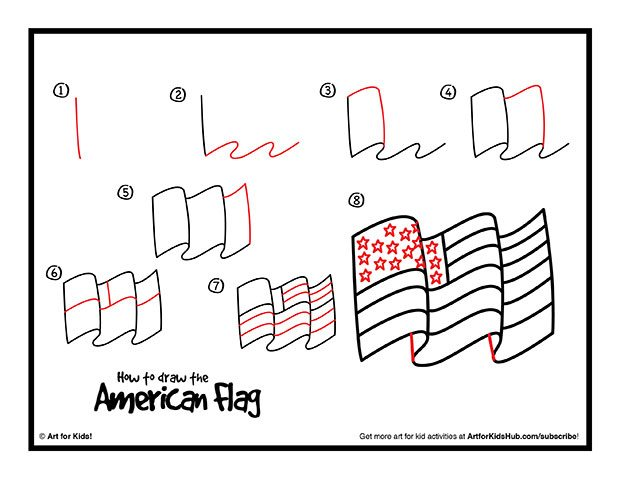 620x479 Free How To Draw An American Flag Printable