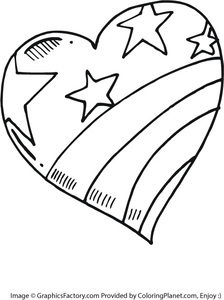 224x300 Free Large Heart Painted Like The American Flag Coloring Page 51