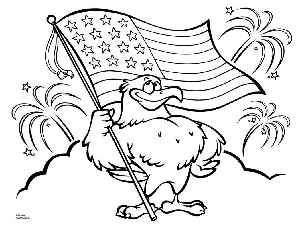1048x810 Patriotic Coloring Pages Eagle With American Flag