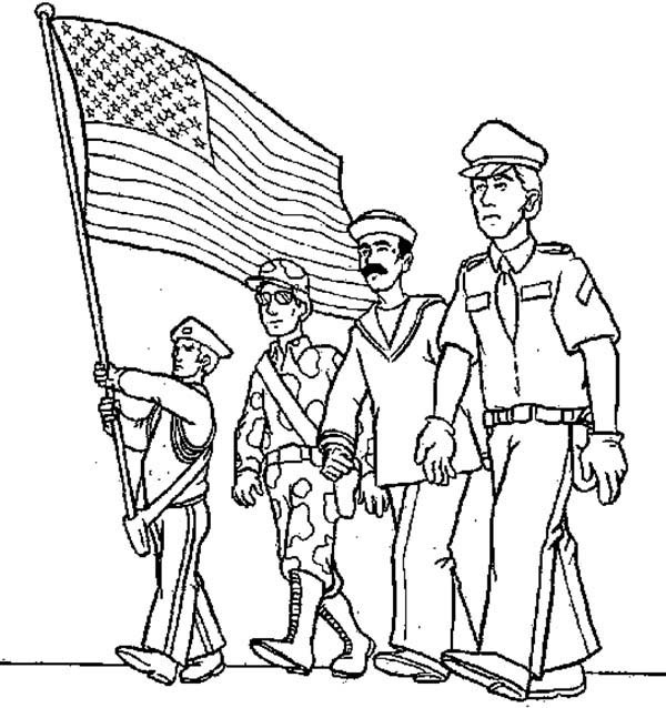 600x638 Waving American Flag In Armed Forces Day Coloring Page Batch