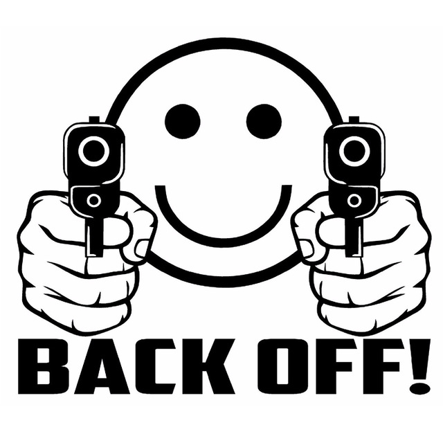 640x640 15cm X 13cm Smiley Face Guns Back Off! Vinyl Decal Sticker Car